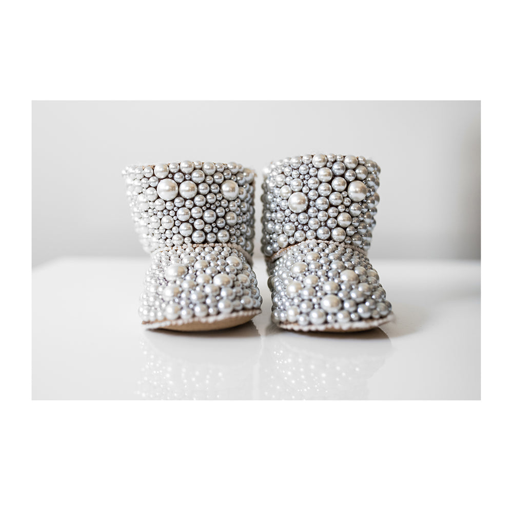 Lux- booties- Pearl moccasins- Handcrafted Baby boots-Luxury Baby Booties- Alure Baby Collections