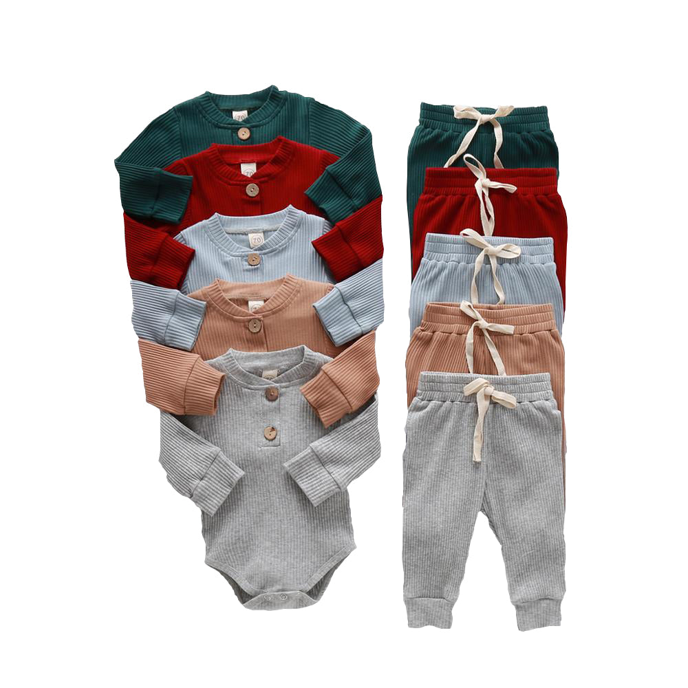Knitted Broadcloth Cotton Polyester Lounge Wear Pajama Sweats Set for Boys & Girls Newbron Infants Toddlers