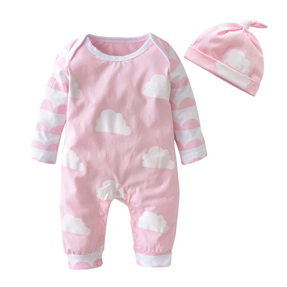 Pink-Cloud Romper Set- Baby Girl Cloud Pajama Romper Set-Alure Baby Collections