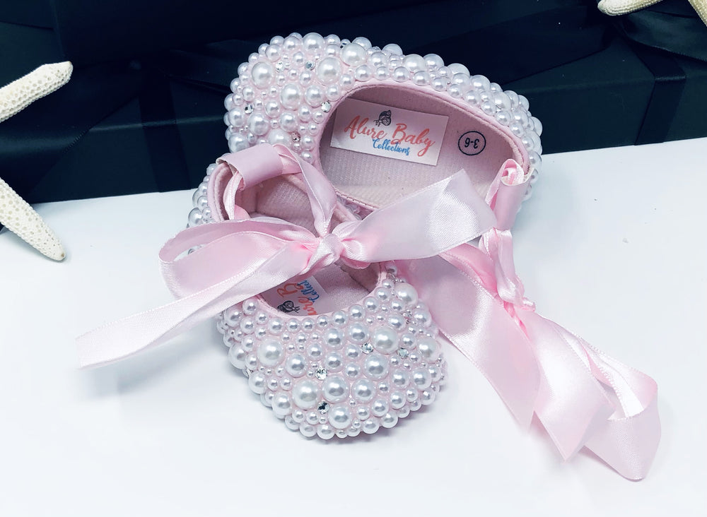 Baby Infant Bling Pearl Party Shoes