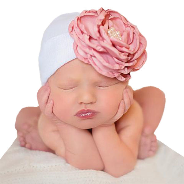 Baby Beanie floral bow Accessories- Alure Baby Collections