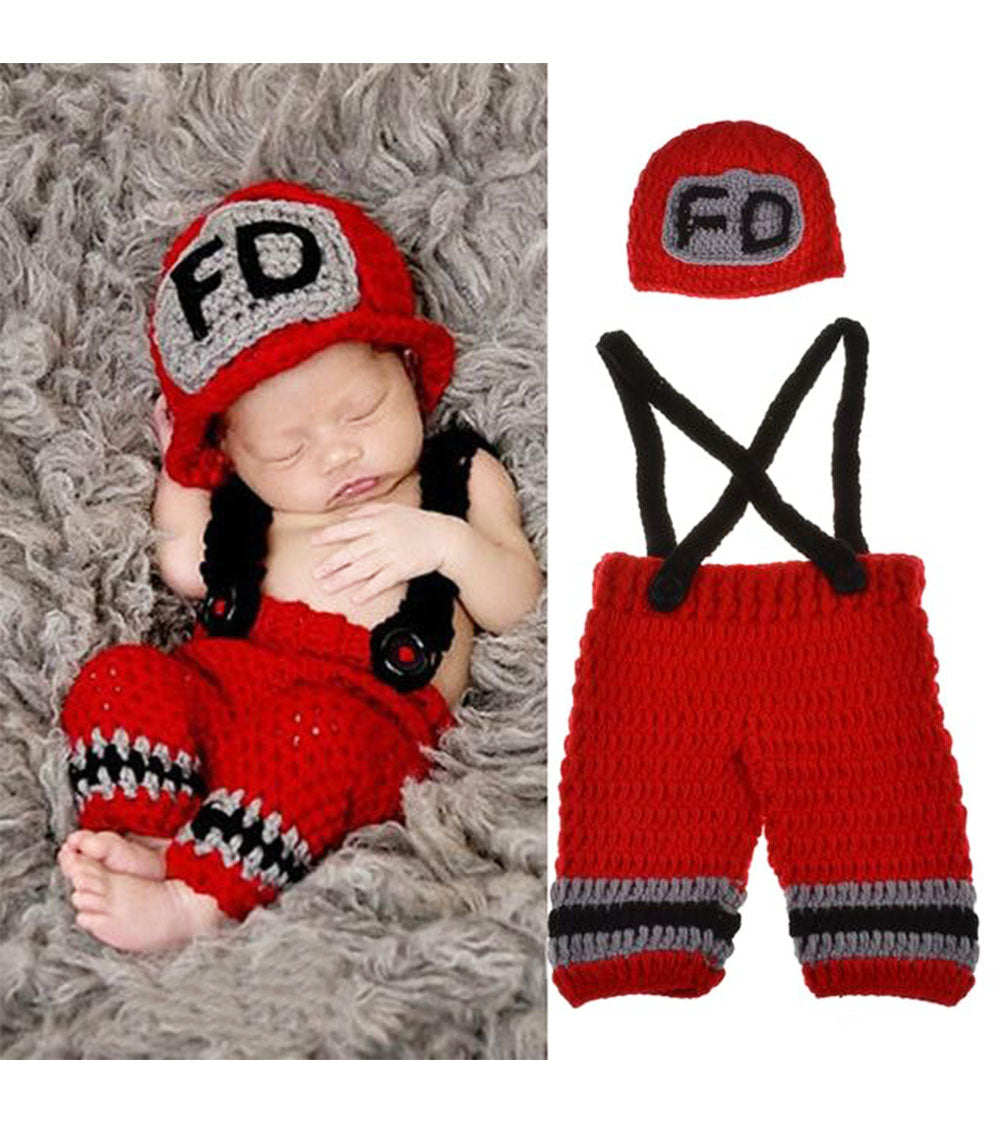 Newborn Baby Knitted Fireman Photo  or howlloween Prop  - ALure Baby Collections