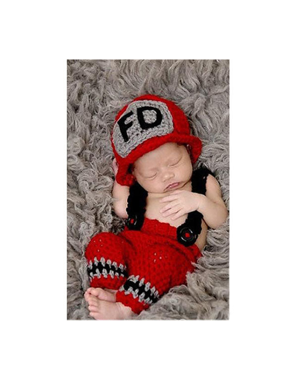 Newborn Baby Fireman Knited Fireman Photo Prop - Alure Baby Collections