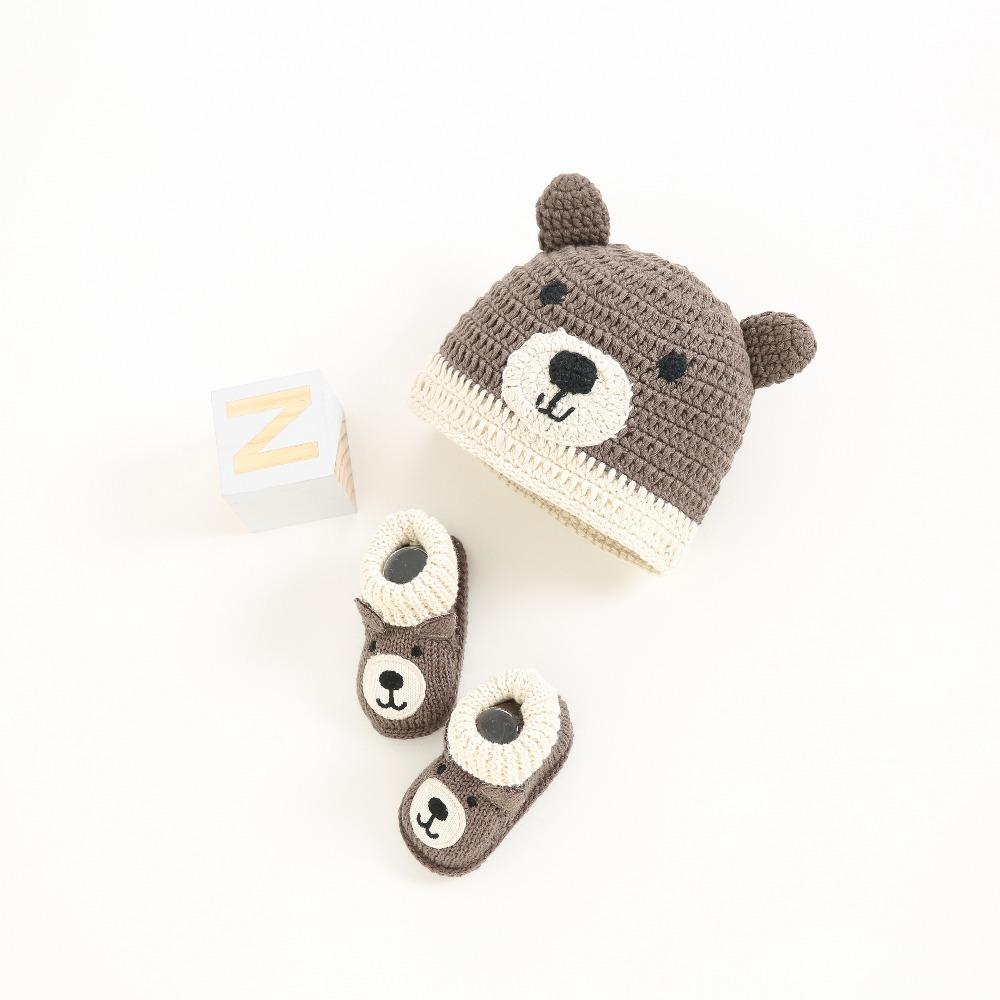 Baba-Loon Beanie Set- Newborn Beanie And Shoe Set-Teddy Bear Beanie for Babies-Alure Baby Collections