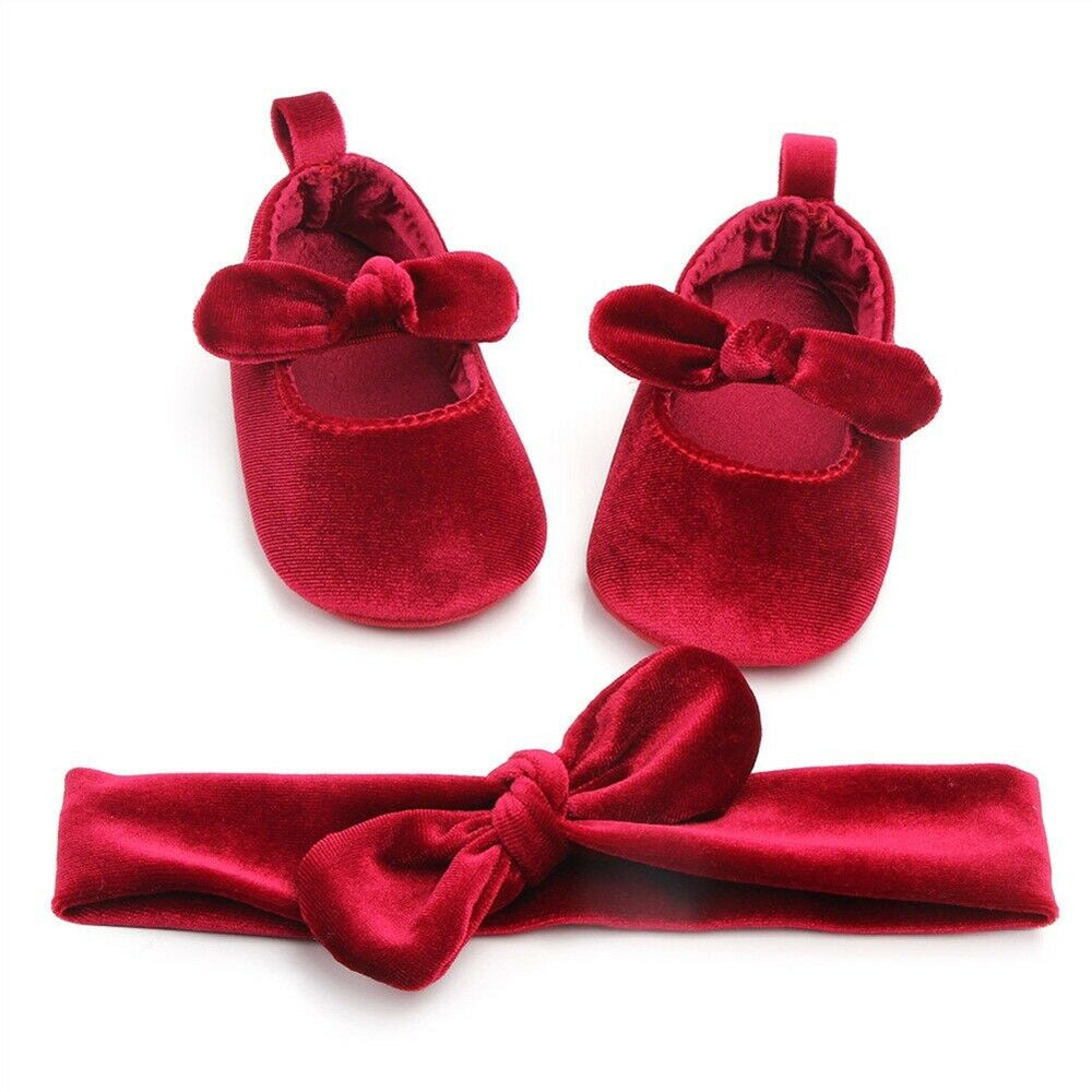 Rev Shoe Set- Baby Girls Dressy Velvet Shoe Set-Shoes and matching Headband-Alure Baby Collections