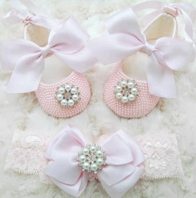 Pink Pearl Baby Shoes - Babptisum Shoes- Baby Bling Shoes Alure Baby Collections