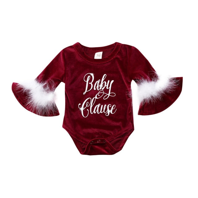 Baby Girls Infant Holiday Clause Romper Shirt- Alure Baby Collections