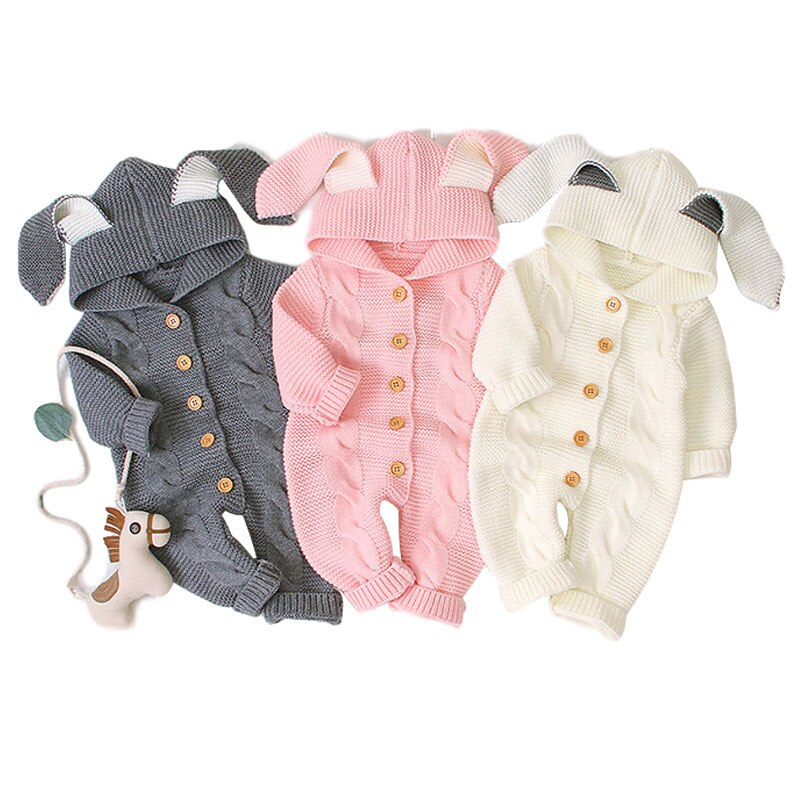 Baby Fun Rabit Ear hoodie Romper- Baby Winter Wear  Romper- Baby Knitted Rompers-Alure Baby Collections