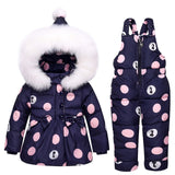 Mimi Toddler Snowsuit Set- Polka Dotted Print - White Plush Hoodie - Polyester and Nylon Materials - Alure Baby Collections