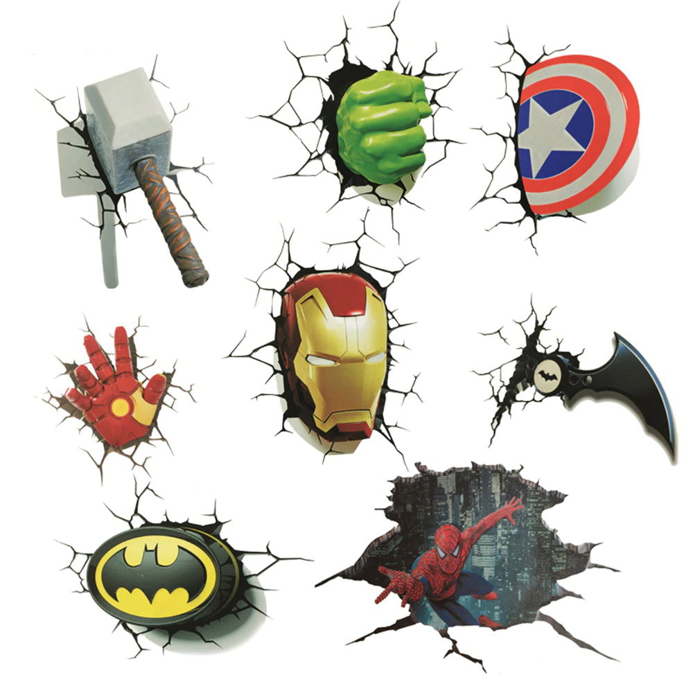 3D Car stickers Decorations For Marvel 4Pcs