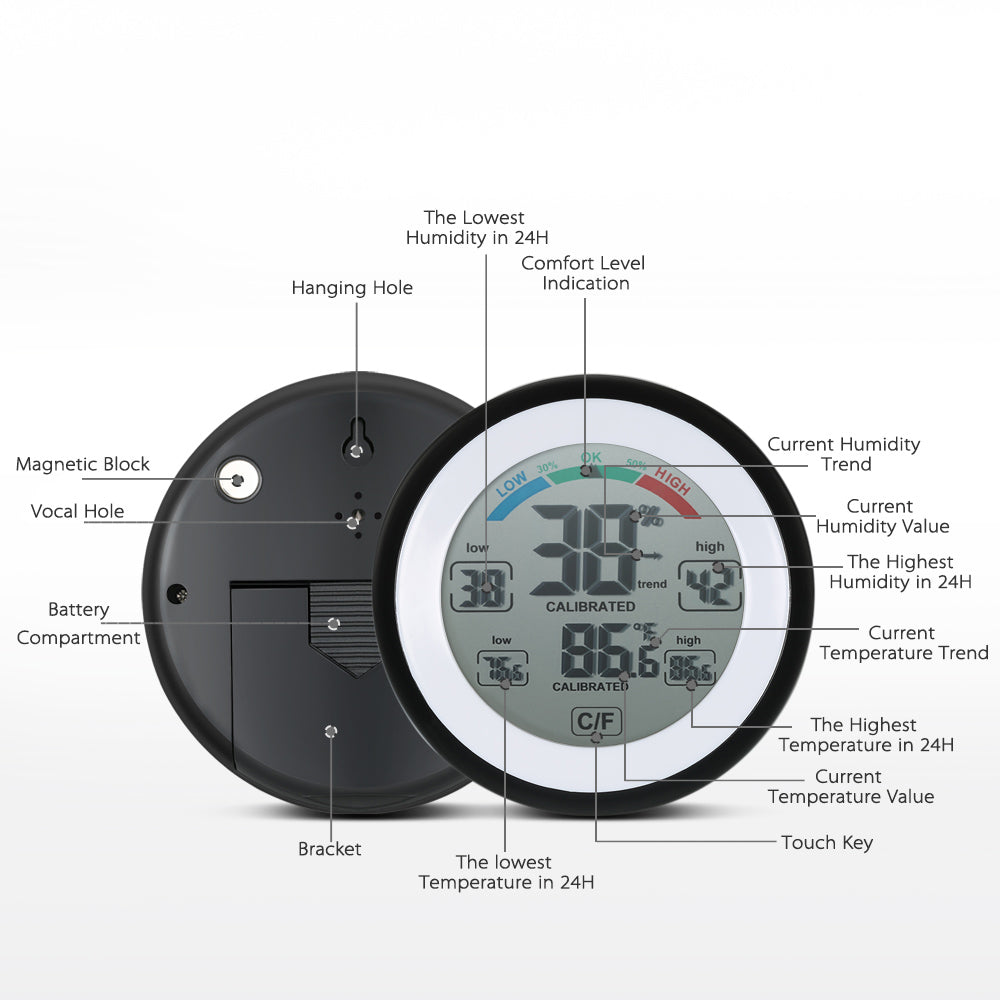 Digital Temperature Humidity Meter °C/°F Display