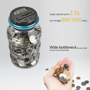 Digital LCD Screen Automatic Coin Counting Money Box