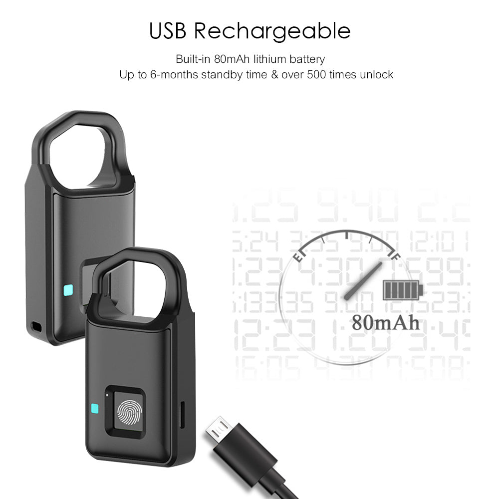 USB Rechargeable Smart Keyless Fingerprint Lock