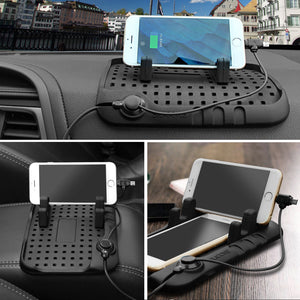 Car Phone Holder Plug Magnetic Charging Mount with Two Heads Cable