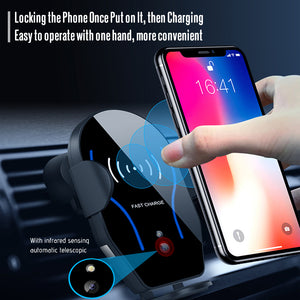 Fully automated wireless car charger phone holder