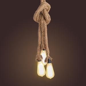 Industrial Style 3 Heads Hemp Rope Ceiling Lamp
