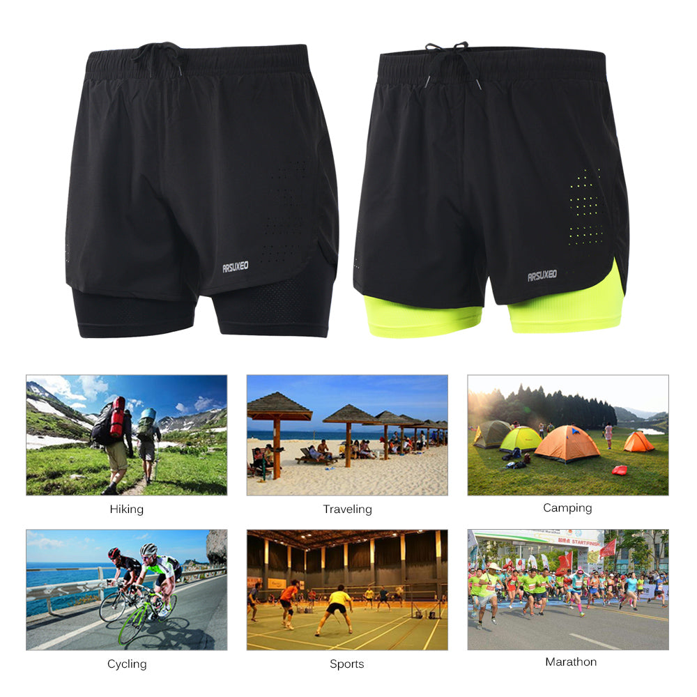 Arsuxeo Men's 2-in-1 Breathable Running Shorts