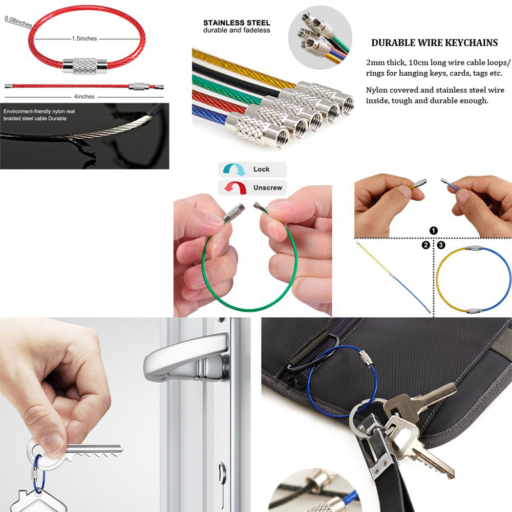 10 Pcs Colorful Stainless Steel Wire Rope for Outdoor Hiking