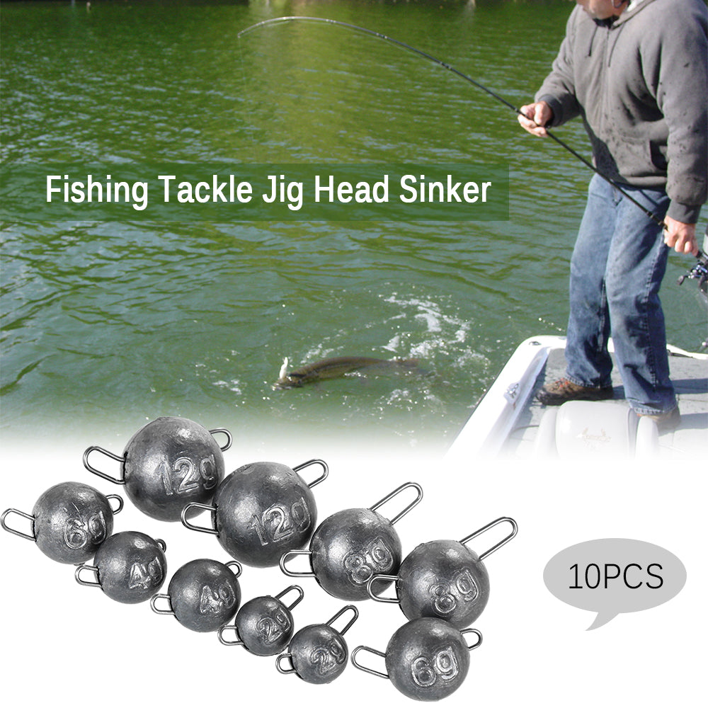 10PCS Fishing Tackle Jig Head Lead Sinker