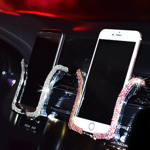 Car Phone Holder with Bling Crystal Rhinestone