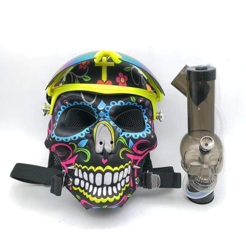 GAS MASK - DESIGN SKULL SKIING w ACRYLIC WATER PIPE M05