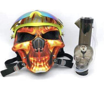 GAS MASK - FLAMING SKULL SKIING w ACRYLIC WATER PIPE M07