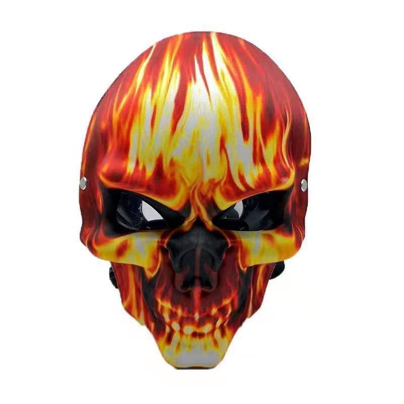 GAS MASK - FLAMING SKULL w ACRYLIC WATER PIPE M07
