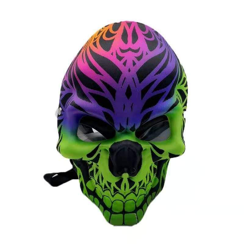 GAS MASK - GREEN PURPLE MASK SKULL w ACRYLIC WATER PIPE M03