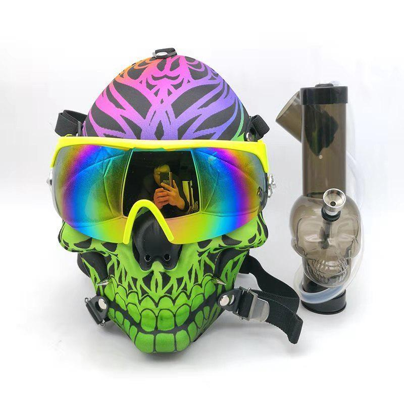 GAS MASK - GREEN SKULL SKIING w ACRYLIC WATER PIPE M09