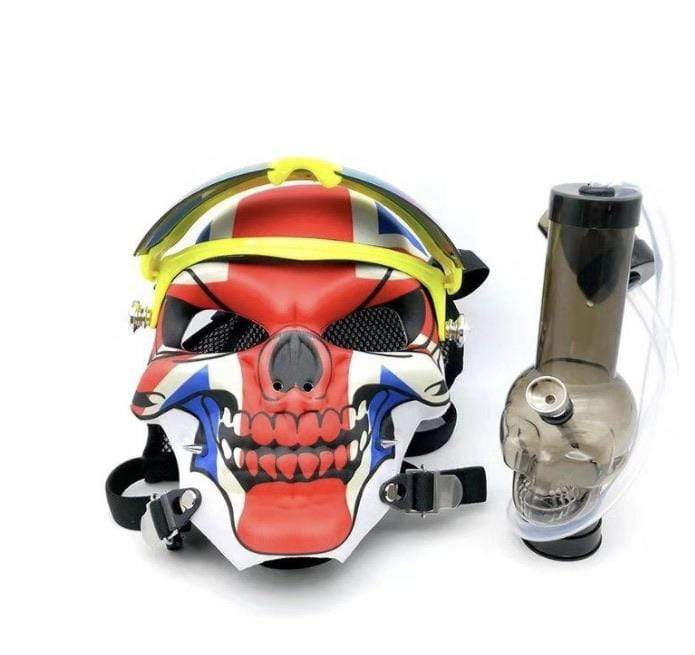 GAS MASK - UK SKULL SKIING w ACRYLIC WATER PIPE M11