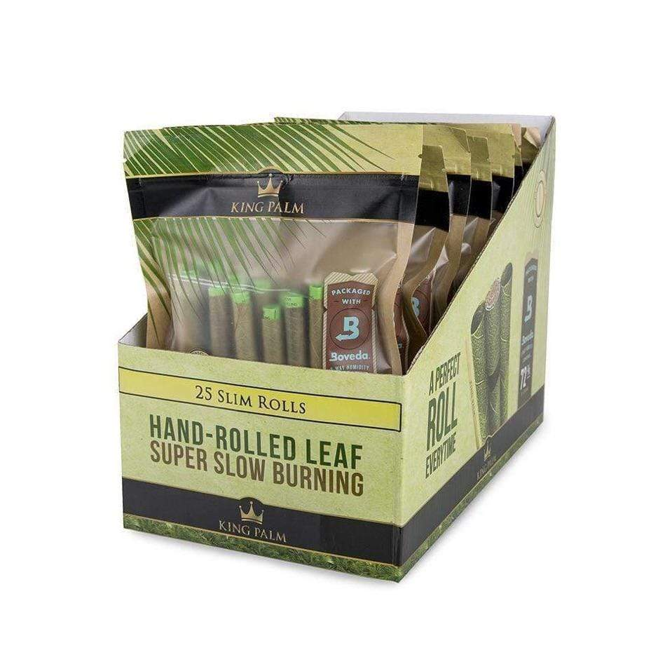 KING PALM - 25pk SLIM ROLLS + BOVEDA (8ct Box)