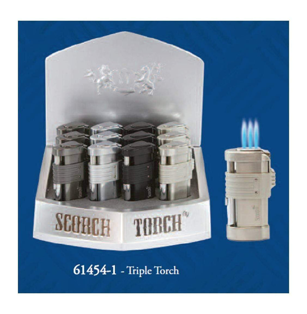 SCORCH TORCH - 61454-1 TRIPLE TORCH w/ CIGAR PUNCH (12ct Display)