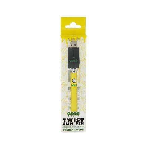 Yellow OZEE SLIM PEN TWIST BATTERY W/USB CHARGER