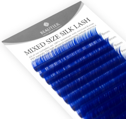 Mixed Size Colored Silk Lashes by Beautier (dark blue)