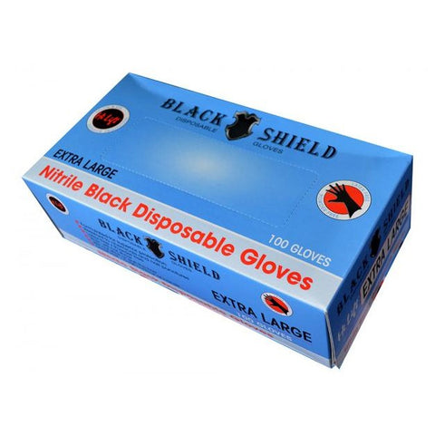 Black Nitrile Disposable Gloves - Black Shield - Extra Large