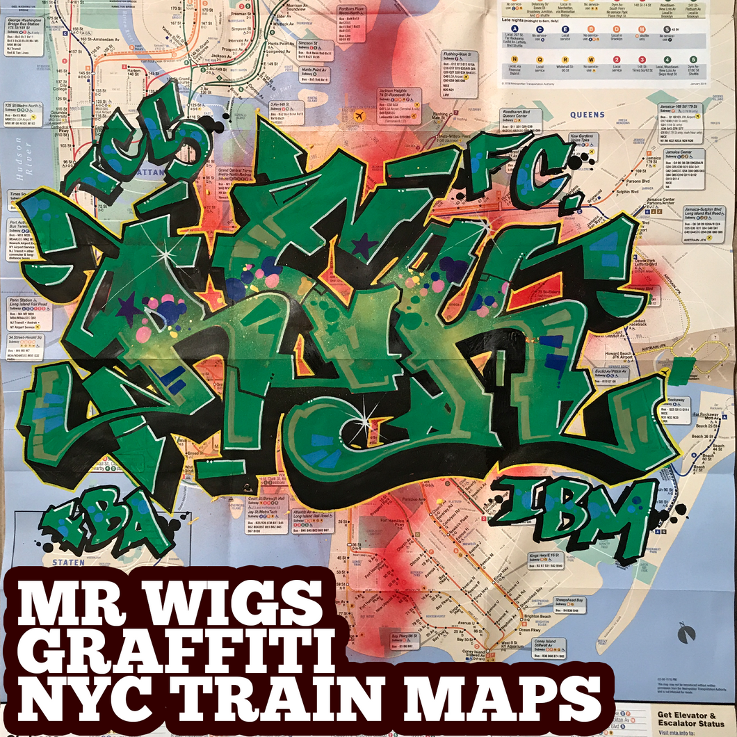 REK green/black funk (1) NYC Train Map (Graffiti Art by Mr Wiggles)