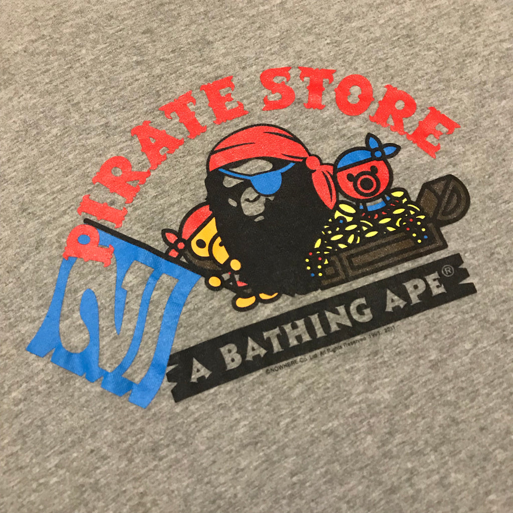 A BATHING APE GREY EXCLUSIVE PIRATE STORE COLLEGE T-SHIRT