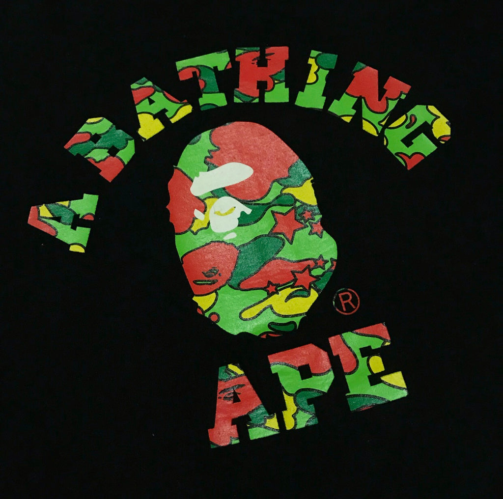 A BATHING APE BLACK PSYCHE CAMO APE HEAD COLLEGE T-SHIRT