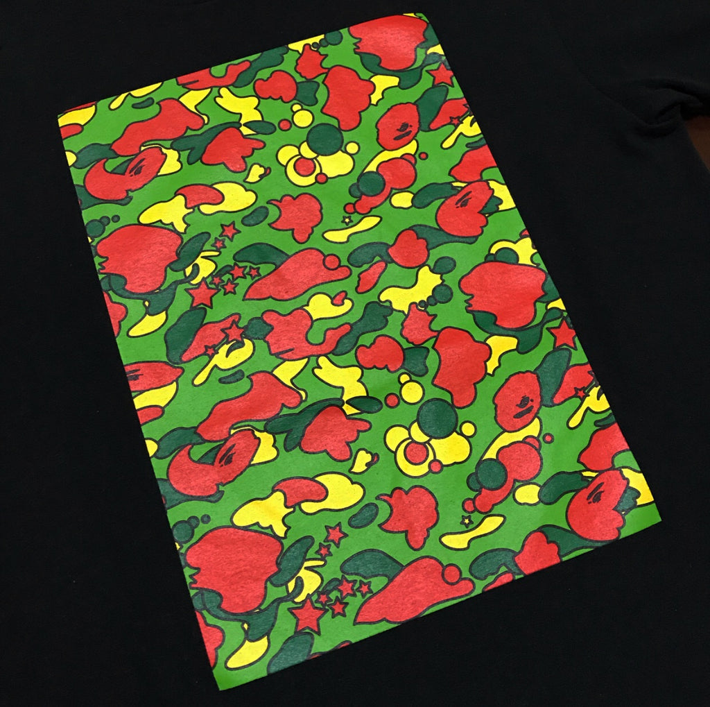 A BATHING APE BLACK PSYCHE CAMO SQUARE T-SHIRT