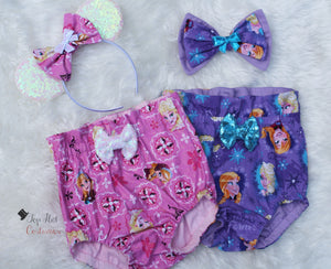 Elsa and Anna Sisters baby bloomers and matching headband