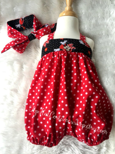 Minnie Mouse Birthday Outfit Jumpsuit Minnie Mouse Ears Disney Cruise Baby girl 1st Birthday Costume Baby Clothes  Disney Turban Headband