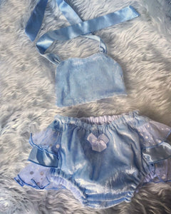 Cinderella, Bloomers, Birthday, Baby Girl, 1st Birthday outfit, Disney, Newborn photo outfit, Baby girl clothes, Blue Velvet, Velvet Fabric