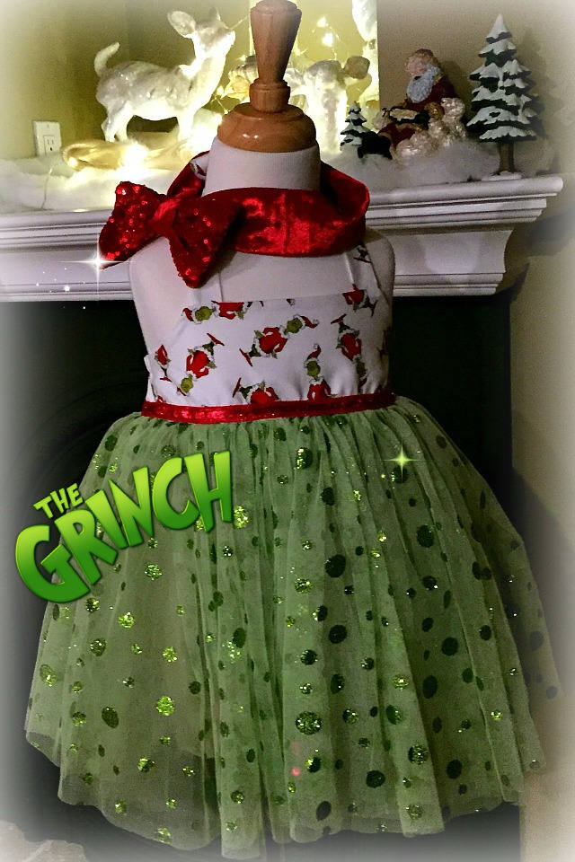 Grinch costume Grinch Baby Outfit Christmas Day Outfit Grinch outfit Xmas day outfit Green tulle dress Whoville Ugly Grinch costume