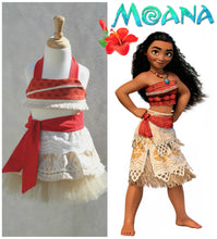 Moana Birthday  Tulle Skirt Crop Top Costume Tropical Tutu Princess Headband Baby girl Baby Headband Hawaiian dress Luau Outfit Luau Party