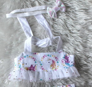Unicorn Birthday Outfit Unicorn Headband Costume Bloomer Set Unicorn Horn Rainbow Unicorn Set Baby Shower Baby Girl Clothes Baby Headband