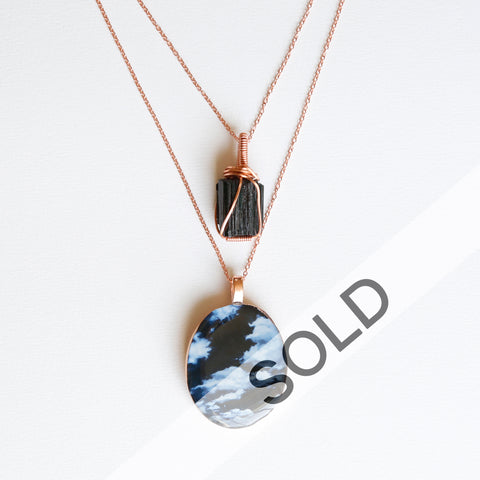 Black Tourmaline Bright Copper Necklace