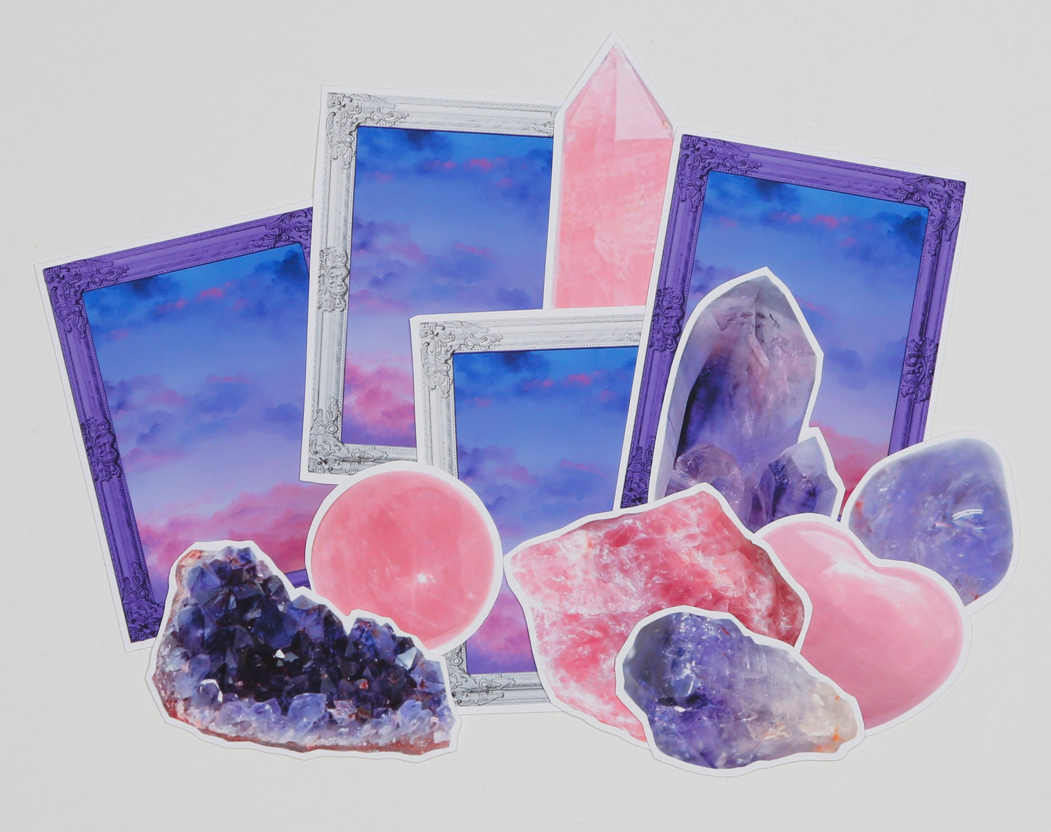 Amethyst and Rose Quartz Sticker Pack