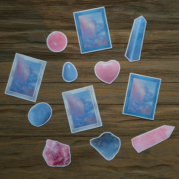Angelite and Rose Quartz Sticker Pack