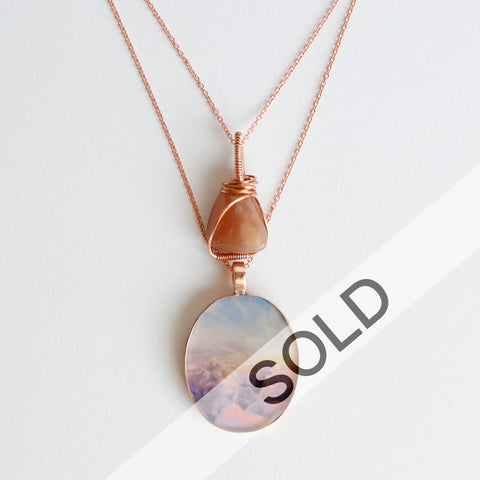 Moonstone Sunrise Bright Copper Necklace