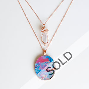 Rainbow Aura Skies Bright Copper Necklace